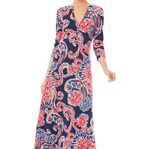 NWOT LILLY PULITZER CORAL PRINT MAXI DRESS ~ M ~
